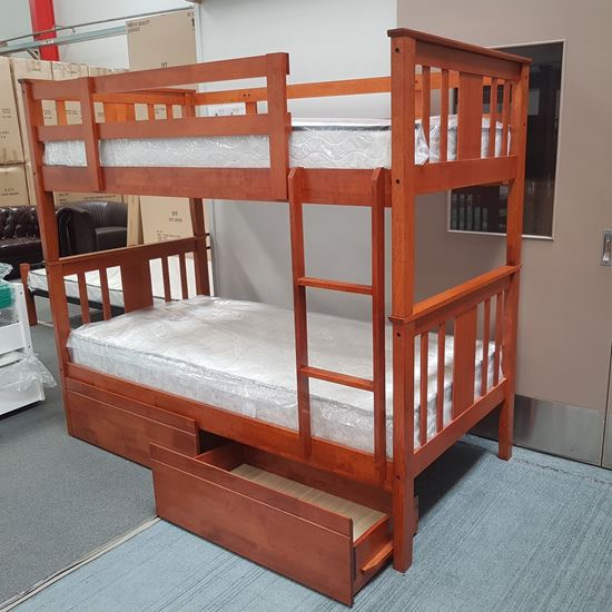 Picture of Holly Bunk Bed with Drawers and Mattresses Single Solid Hardwood Oak