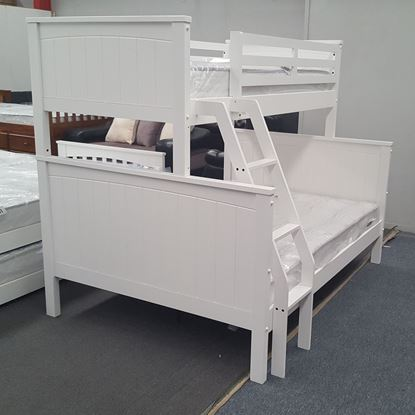 Picture of Emily Double Bunk Bed with Mattresses Solid Hardwood White Colour