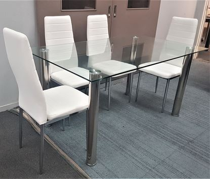 Picture of Melody Dining Table Clear Glass 1.3X0.8m with 4 White Mila Dining Chair