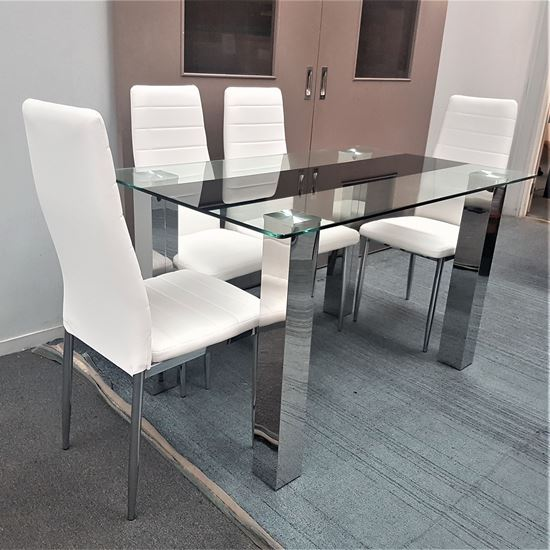 Picture of Levi Dining Table Glass 1.3X0.8m with 4 White Mila Dining Chair