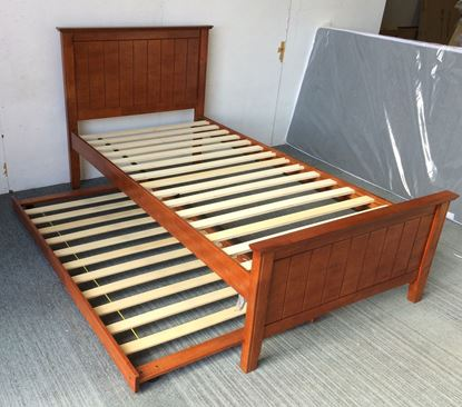 Picture of Eddie Single Bed with Trundle Solid Hardwood Oak Malaysian