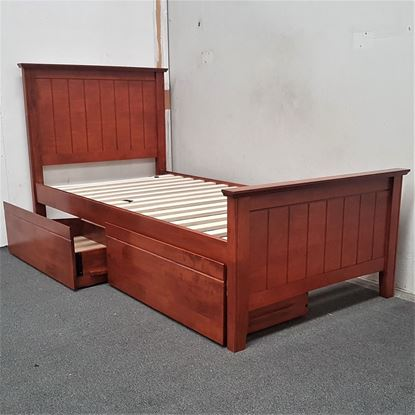 Picture of Eddie Single Bed with Drawers Solid Hardwood Oak Malaysian