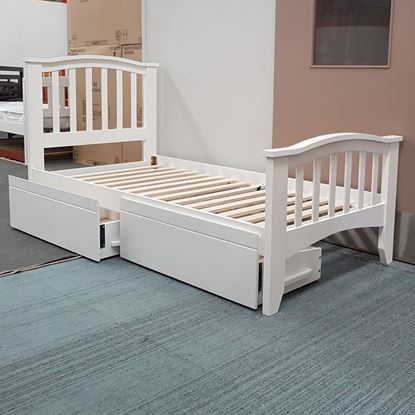 Picture of Taylor Single Bed with Drawers Solid Hardwood White Malaysian
