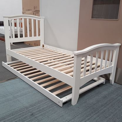 Picture of Taylor Single Bed with Trundle Solid Hardwood White Malaysian