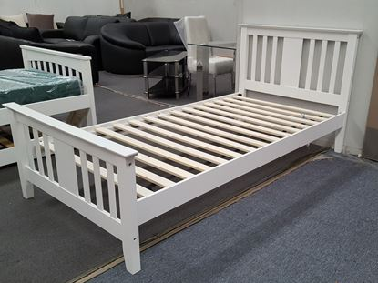 Picture of Holly  Single Bed Solid Hardwood White Malaysian Made