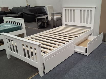 Picture of Holly  Single Bed with Drawers Solid Hardwood White Malaysian