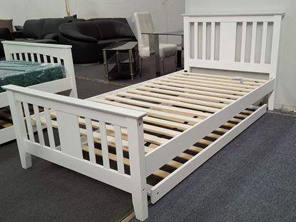 Picture of Holly  Single Bed with Trundle Solid Hardwood White Malaysian