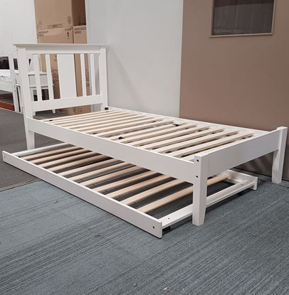 Picture of Grace  Single Bed with Trundle Solid Hardwood White Malaysian