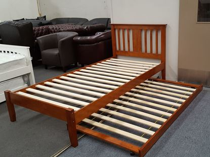 Picture of Grace King Single Bed with Trundle Solid Hardwood Oak Malaysian Made