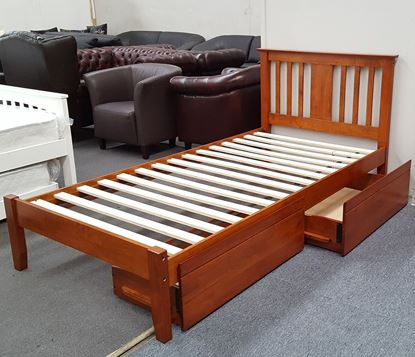 Picture of Grace King Single Bed with Drawers Solid Hardwood Oak Malaysian Made