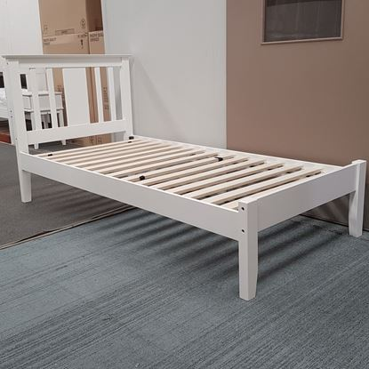 Picture of Grace King Single Bed Solid Hardwood White Malaysian Made