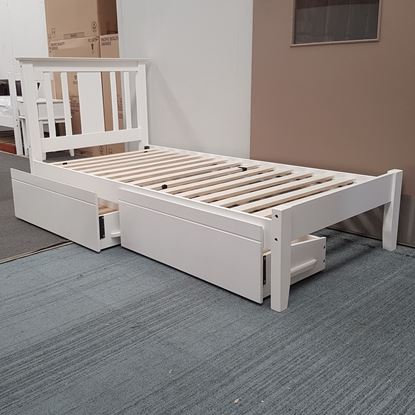Picture of Grace King Single Bed with Drawers Solid Hardwood White Malaysian Made