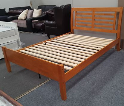 Picture of Jolie Queen Bed Solid Hardwood Honey Oak Colour Malaysian Made