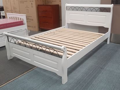 Picture of Flora Double Bed Solid Hardwood White Colour Malaysian Made