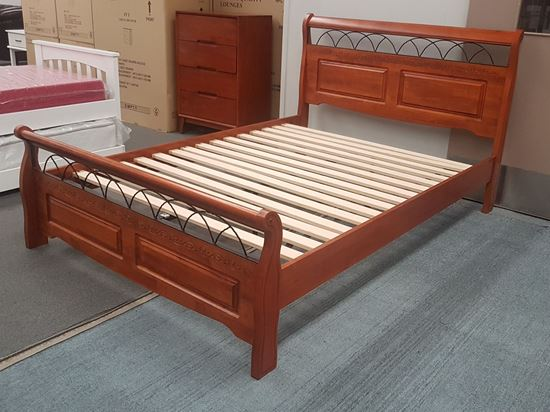 Picture of Flora Double Bed Solid Hardwood Antique Oak Malaysian Made