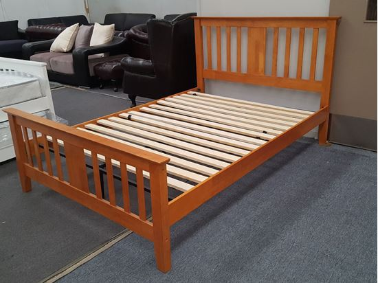Picture of Holly Double Bed Solid Hardwood Honey Oak Malaysian Made