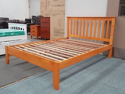 Picture of SH1 Double Bed Solid Hardwood Honey Oak Colour Malaysian Made