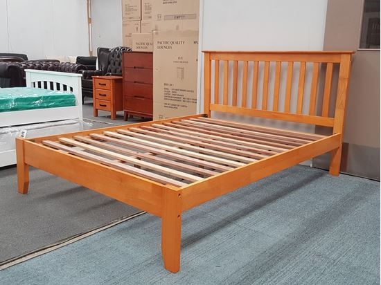 Picture of SH1 Queen Bed Solid Hardwood Honey Oak Colour Malaysian Made
