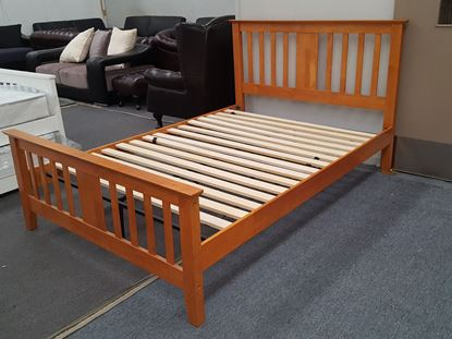 Picture of Holly Queen Bed Solid Hardwood Antique Oak Colour Malaysian Made