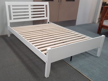 Picture of Jolie Double Bed Solid Hardwood White Colour Malaysian Made