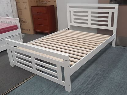 Picture of Ashley  Double Bed Solid Hardwood White Malaysian Made