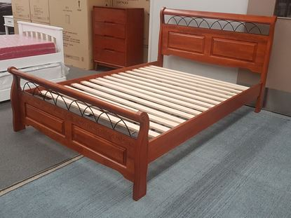 Picture of Flora King Bed Solid Hardwood Antique Oak Malaysian Made